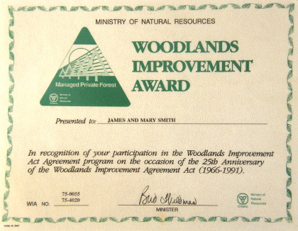 Ministry of Natural Resources Woodlands Improvement Award